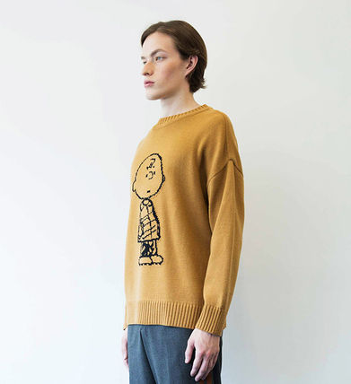 STEREO VINYLS COLLECTION Knits & Sweaters Crew Neck Unisex Street Style Long Sleeves Plain 14