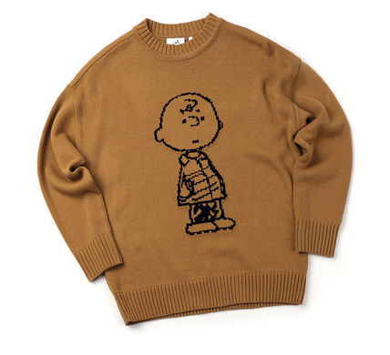 STEREO VINYLS COLLECTION Knits & Sweaters Crew Neck Unisex Street Style Long Sleeves Plain 16