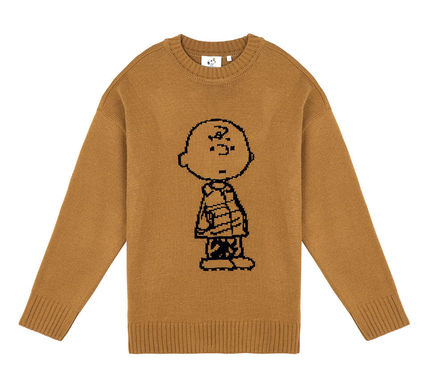 STEREO VINYLS COLLECTION Knits & Sweaters Crew Neck Unisex Street Style Long Sleeves Plain 17