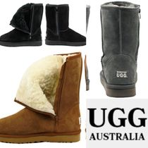 UGG Australia Round Toe Rubber Sole Casual Style Suede Flat Boots