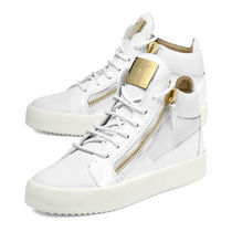GIUSEPPE ZANOTTI Wedge Plain Leather Platform & Wedge Sneakers