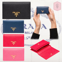 PRADA Blended Fabrics Plain Leather With Jewels Card Holders
