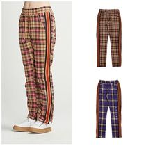 ROMANTIC CROWN Other Check Patterns Unisex Street Style Cotton Pants