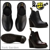 Dr Martens HURSTON Casual Style Plain Leather Block Heels Ankle & Booties Boots