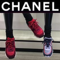 CHANEL ICON Monogram Rubber Sole Casual Style Unisex Suede Street Style