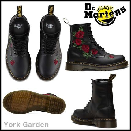 Flower Patterns Lace-up Casual Style Leather Lace-up Boots