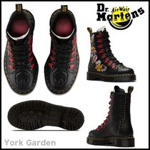 Dr Martens Flower Patterns Lace-up Casual Style Leather Lace-up Boots