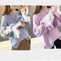 Casual Style U-Neck Long Sleeves Plain Medium Lace Sweaters