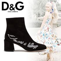 Dolce & Gabbana Plain Toe Suede Plain Chunky Heels Ankle & Booties Boots