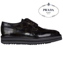 PRADA Camouflage Loafers Leather Loafers & Slip-ons