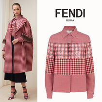 FENDI Other Check Patterns Wool Blended Fabrics Long Sleeves