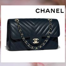 CHANEL Lambskin 2WAY Chain Plain Elegant Style Handbags