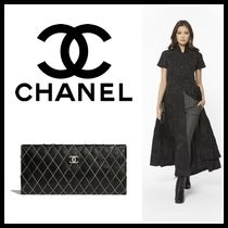 CHANEL Other Check Patterns Lambskin Blended Fabrics Chain Plain