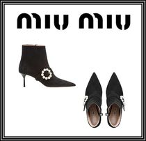 MiuMiu Casual Style Suede Plain Pin Heels With Jewels