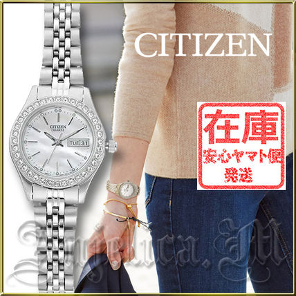 Round Quartz Watches Stainless With Jewels Analog Watches