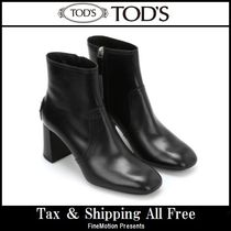 TOD'S Round Toe Plain Leather Handmade Elegant Style
