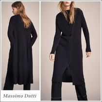 Massimo Dutti Rib Long Sleeves Plain Cotton Long Elegant Style Cardigans