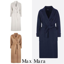 S Max Mara Wool Plain Long Elegant Style Wrap Coats