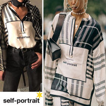 SELF PORTRAIT Other Check Patterns Casual Style Silk Medium Puff Sleeves