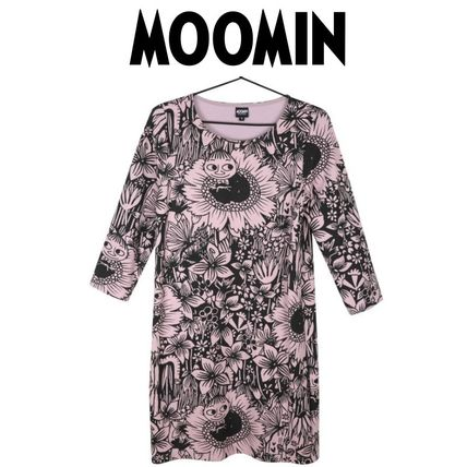 Crew Neck Short Flower Patterns Casual Style Cropped Dresses