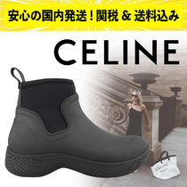 CELINE Round Toe Plain Ankle & Booties Boots