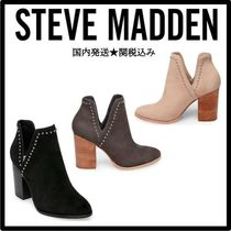 Steve Madden Studded Plain Chunky Heels Ankle & Booties Boots