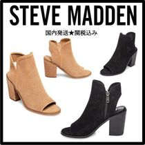 Steve Madden Open Toe Suede Plain Chunky Heels Ankle & Booties Boots