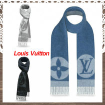Louis Vuitton Unisex Wool Street Style Bi-color Plain Fringes Scarves