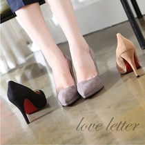 Suede Plain Pin Heels Office Style Stiletto Pumps & Mules