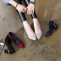 Casual Style Suede Plain Chunky Heels
