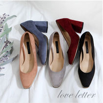 Casual Style Suede Plain Chunky Heels Pumps & Mules