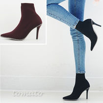 Faux Fur Plain Pin Heels Elegant Style Ankle & Booties Boots