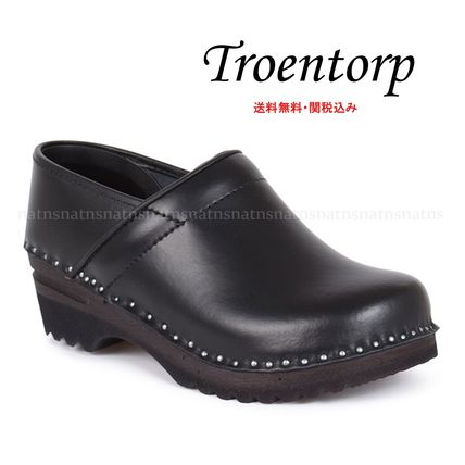 Round Toe Plain Leather Sabo Shoes