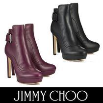 Jimmy Choo Platform Round Toe Plain Leather Elegant Style