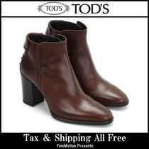 TOD'S Rubber Sole Plain Leather Handmade Elegant Style