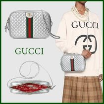 GUCCI Flower Patterns Casual Style Calfskin 2WAY Shoulder Bags
