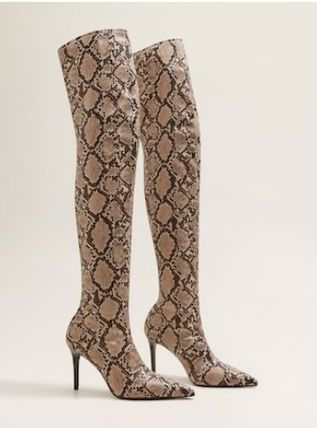 Pin Heels Python Over-the-Knee Boots