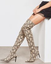 MANGO Pin Heels Python Over-the-Knee Boots