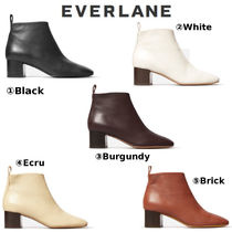 Everlane Plain Toe Casual Style Leather Chunky Heels