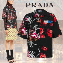PRADA Short Flower Patterns Casual Style Street Style Cotton