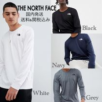 THE NORTH FACE Crew Neck Long Sleeves Plain Cotton Long Sleeve T-Shirts