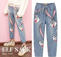 ELF SACK Casual Style Denim Street Style Other Animal Patterns Long