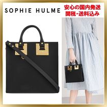 SOPHIE HULME Albion 2WAY Plain Leather Elegant Style Totes
