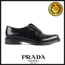PRADA Plain Toe Plain Leather Oxfords
