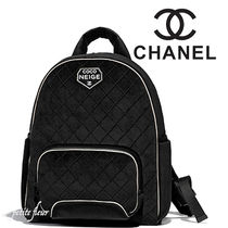 CHANEL Casual Style Street Style Plain Backpacks