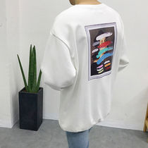 Unisex Street Style Long Sleeves Plain Cotton Oversized