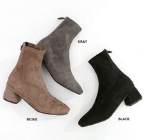 HOLLY Argile Round Toe Casual Style Suede Blended Fabrics