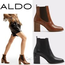 ALDO Casual Style Blended Fabrics Plain Leather Block Heels