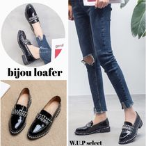 Casual Style Enamel Plain With Jewels Loafer Pumps & Mules