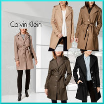 Calvin Klein Plain Medium Elegant Style Trench Coats